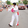 Don Knight | The Herald Bulletin<br /> Elvis engages the crowd while walking in Anderson's Independence Day Parade on Tuesday.