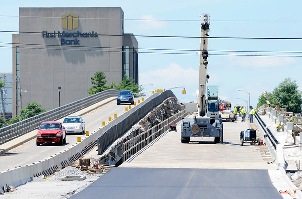 Don Knight | The Herald Bulletin<br /> The Eisenhower Bridge will close to traffic on Thursday to move signals and concrete barriers so eastbound traffic can begin using the new span so the remaining one can be replaced. Westbound traffic will continue to be detoured around the project.