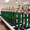 John P. Cleary | The Herald Bulletin<br /> Along with the ribbons, dozens of 4-H trophies stand ready to be handed out this week during the 4-H Fair.
