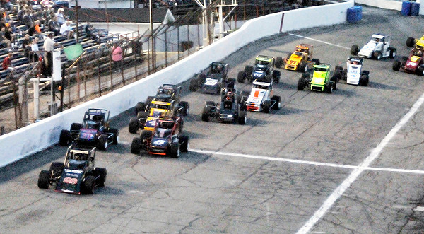 John P. Cleary | The Herald Bulletin<br /> Aaron Pierce gets the jump on the field at the start of the non-winged sprint car race at Anderson Speeedway for Thursday Night Thunder racing. Pierce never relinquished the lead for the entire 75-lap race.