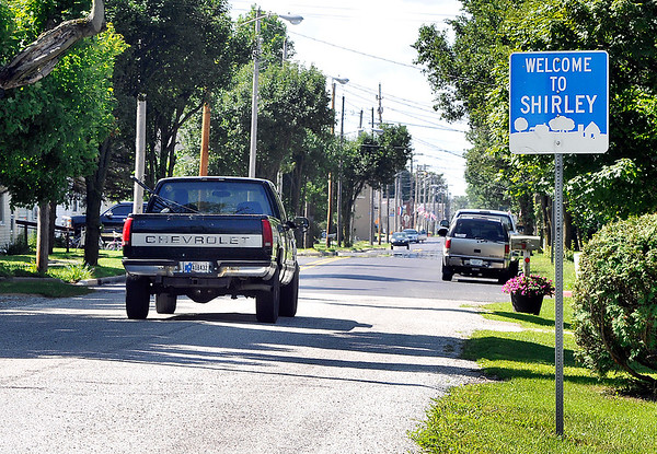 John P. Cleary   The Herald Bulletin<br /> A look south along Main Street as you enter Shirley.