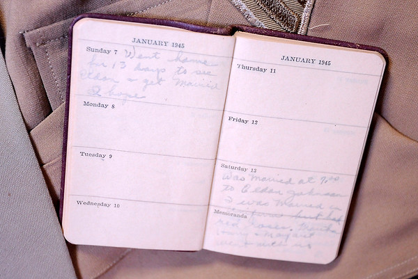 Don Knight | The Herald Bulletin<br /> Hilda Johnson's diary entry for January 7, 1945 talks about going home on leave and hopes of marrying Eldon while there. Six days later she records her wedding day.