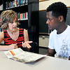 John P. Cleary | The Herald Bulletin<br /> Stephanie Miles, new Career Pathway Coordinator at Liberty Christian School, works with junior Negesse Kishpaugh. The school has started a new scholarship endowment for vocational education.
