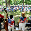 John P. Cleary | The Herald Bulletin<br /> A large crowd turned out Saturday for the annual Bluegrass Festival at Shadyside Park hosted by the White River Folk & Bluegrass Club. Here they are being entertained by Cumberland Gap, one of five acts performing at the festival.