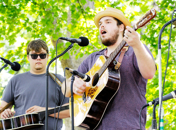 Don Knight   The Herald Bulletin<br /> From left, Jon Black and Eric Reel perform with the band Boozhounds during the White River Folk & Bluegrass Music Club's Shadyside Bluegrass Festival on Saturday. Other members of the band include Louis Morris on banjo and Jim Farley on bass.