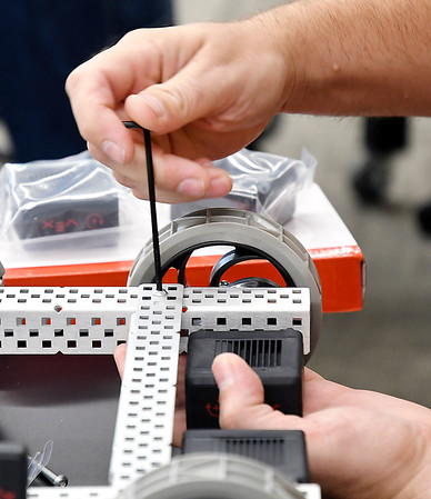 John P. Cleary   The Herald Bulletin<br /> Area teachers get training on VEX robotics at Purdue Polytechnic by assembling and programming one.