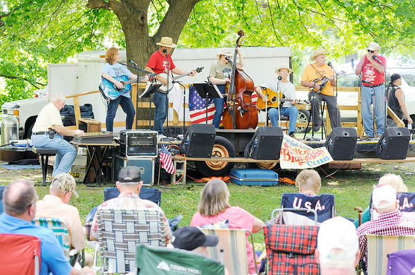 Don Knight | The Herald Bulletin<br /> Canal Town Revival from Metamora Ind. plays the White River Folk & Bluegrass Music Club's Shadyside Bluegrass Festival on Saturday.