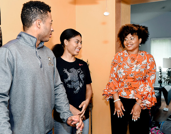 John P. Cleary | The Herald Bulletin<br /> Joseph King, 22, and his sister, Aunikah, 19, have a laugh with their mother, Anikka King.