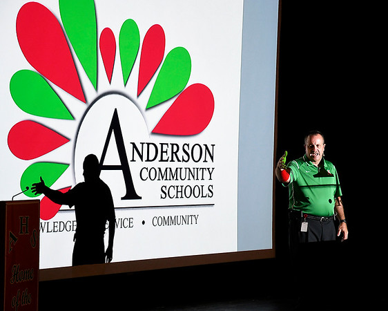 John P. Cleary | The Herald Bulletin<br /> Anderson Community Schools Superintendent Timothy Smith addresses teachers Monday during a convocation at Anderson High School kicking off the 2019-20 school year. Classes start Wednesday.