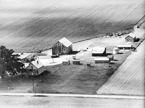 John P. Cleary | The Herald Bulletin<br /> This is an aerial view of the Blake farm from the early 1970's. Their farm was honored by the state as a Hoosier Homestead Farm.