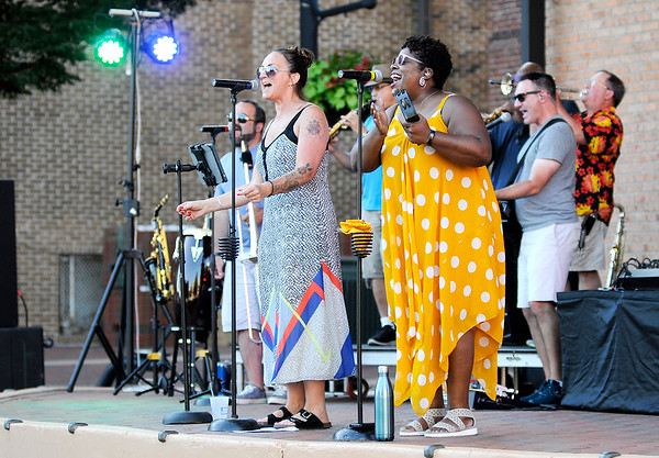 Don Knight | The Herald Bulletin<br /> Soul Street performs at Dickmann Town Center on Friday as part of the city's Summer Concert Series. Lemon Wheel will be the next band to perform on July 26th at 7:30 p.m.