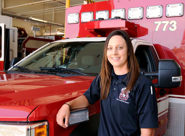 Don Knight | The Herald Bulletin<br /> Paige Creasy realized her dream of working for the Elwood Fire Department.