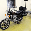 Don Knight | The Herald Bulletin<br /> A Honda motorcycle waits to go on the auction block at the Rangeline Community Center on Saturday. Proceeds from the auction will go towards a new heating and cooling system.