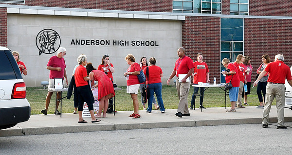 John P. Cleary | The Herald Bulletin<br /> The Anderson Federation of Teachers held a Red for Ed rally Monday in front of Anderson High School in support of an agreement for a proposed employee handbook.