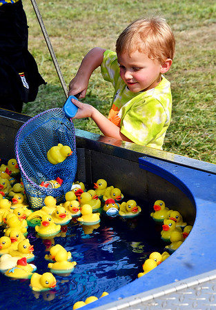 Nash Haas, 3, tries his luck scooping up little ducks as he plays the Lucky Ducky game at the Madison County 4-H Fair Tuesday. Nash, who is from Alexandria, won a stuffed yellow ducky of his own.