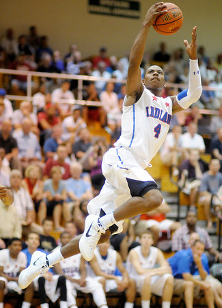 Senior All-Star Glenn Robinson III soars to the basket as the Indiana All-Stars played at Pendleton Heights High School on Wednesday.