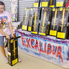 Tammie Denning, manager of the USA Fireworks store on Scatterfield, talks about her best seller the Excalibur on Saturday. While the county is under a burn ban residents will still be able celebrate the Fourth of July with fireworks.