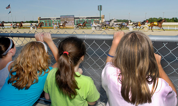Hoosier Park and the Indiana Standardbred Assoc. hosted over 300 girl scouts and their families Friday for Family Night at Hoosier Park.  The fence was lined with girl scouts watching the action on the track during Family Night.