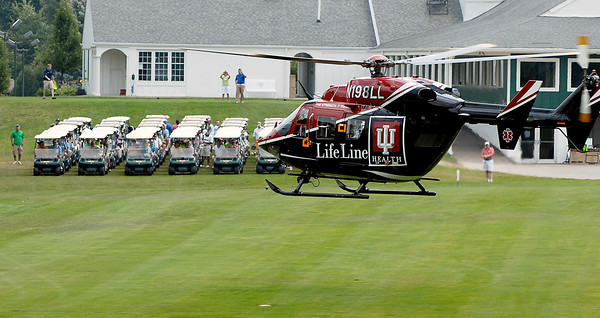 Lifeline medical helicopter takes off from the number one fairway at The Edge to signal the start of the annual Community Hospital Emergency Dept. golf outing Friday afternoon.
