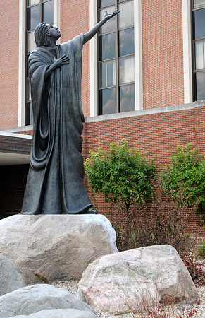 """Sculpture of John the Apostle titled """"The Beloved"""" by local artist Ken Ryden stands on the campus of St. John's. St. John's announced that they will be changing their name to St. Vincent Anderson Regional Hospital during the Madison County Chamber of Commerce Wake Up! breakfast at Hoosier Park on Thursday."""