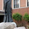 "Sculpture of John the Apostle titled ""The Beloved"" by local artist Ken Ryden stands on the campus of St. John's. St. John's announced that they will be changing their name to St. Vincent Anderson Regional Hospital during the Madison County Chamber of Commerce Wake Up! breakfast at Hoosier Park on Thursday."