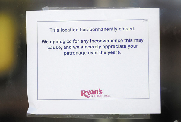 The signage from the Ryan's in Anderson has been removed and a note taped to the door says the location has permanently closed.