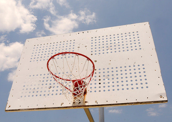 The replacement of missing rims on the basketball court and freshly painted markings on the court were some of the improvements made to Walnut Street Park by volunteers over the weekend.