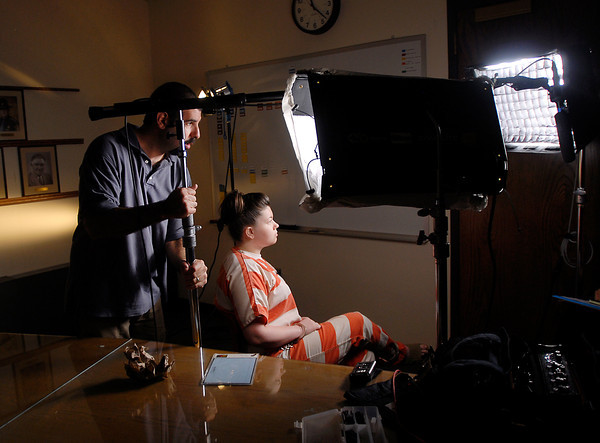 "Amber Portwood sits quietly in the Madison County jail as workers from Good Morning America adjust their recording equipment as they prepared to tape a interview with the ""Teen Mom"" reality star Wednesday morning."