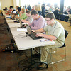 Kyle Montgomery uses one of several computers to search for job openings during the Central Indiana Job/Career Fair at Madison Park Church of God on Thursday.
