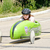 Heather Binion, 12, drives a Soap Box Derby car for the first time during a practice for new drivers at Derby Downs on Friday. The city repaved the bottom of the track where drivers apply their brakes improving the safety of the track.