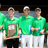 The Pendleton Heights golf team finished first in the Noblesville sectional Monday. With their hardware are Colin Proctor, Rylan Denney, Tyler Meyer, Trevar Denney, and Zach Farrer.