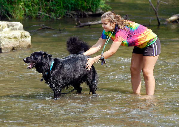 As the heat index rose into the mid to upper 90's Tuesday Ally Clear decided that Falls Park and the creek was a good spot to go cool off with her dog Ray and play in the water.