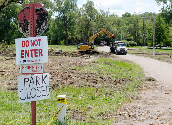 Don Knight/The Herald Bulletin<br /> Edgewater park and the river walk that runs through it will be closed until construction on the levee is completed.