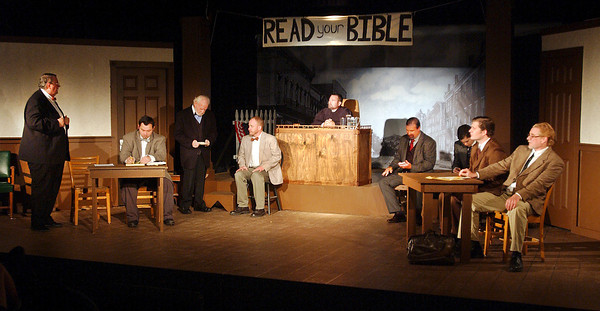 """This is the courtroom scene as the jury is being picked for the trial of Bertram Cates in Mainstage Theatre's production of """" Inherit the Wind."""""""