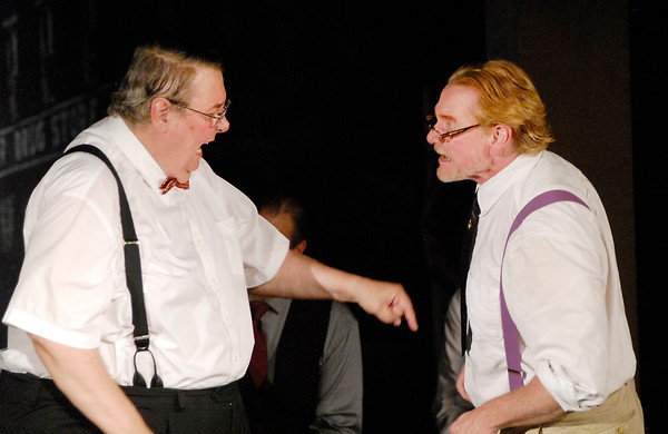 """Attorney's Matthew Harrison Brady (Steve Sharkey) and Henry Drummond (Ronnie Johnstone) go at each other in the courtroom  in Mainstage Theatre's production of """" Inherit the Wind."""""""