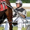 Don Eash, driving Diamonds Princess, wins the third race at Hoosier Park Racing & Casino Tuesday evening.