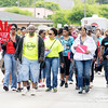 Hundreds march west on Nichol Avenue during the Stop the Violence March in Anderson on Saturday.