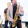 "Don Knight/The Herald Bulletin<br /> Johnny Colla plays saxophone as Huey Lewis and the News open their set with ""Heart of Rock and Roll"" as the Hoosier Park Racing and Casino Summer concert series kicked off on Saturday. The B-52s & The Go-Go's are up next in the series performing on June 29th."