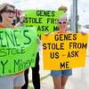 Don Knight/The Herald Bulletin<br /> Former employees Courtney Smith, left, and Susan Coppess, right, filed a complaint against Gene's alleging the owner took a portion of their tips. Smith and Coppess along with family and friends staged a protest against the restaurant on Friday.