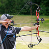 Gary Studt takes aim at a coyote target in a one arrow shoot off after Studt's team and Joe Hamilton's team tied after shooting at 10 targets during the Regions Archery competition at Athletic Park on Friday. Studt's shot earned his team the win. On his team were Doug Girt, Larry Popa and Butch Heath.