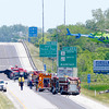 Don Knight | The Herald Bulletin<br /> One of two air ambulances lifts off from the northbound lanes of Interstate 69 following a serious accident Saturday.