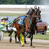 Don Knight | The Herald Bulletin<br /> Justice Jet driven by Trace Tetrick wins the fourth race at Hoosier Park on Saturday. To view or buy this photo and other Herald Bulletin photos, visit<br /> photos.heraldbulletin.com.