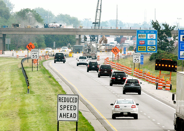John P. Cleary | The Herald Bulletin<br /> This view of I 69 from the Madison Ave. bridge shows the northbound lanes as they approach the Main Street bridge construction project and the construction zone along the interstate.