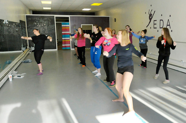 Don Knight | The Herald Bulletin<br /> Brittany Yeagy teaches a Hip Hop routine to her students at the Encore Dance Academy in Fairmount.