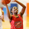 Stu Hirsch | The Herald Bulletin<br /> Anderson's Dabrionna Williams plays for the Benson Red team during the  Indiana Class Basketball All-Star Classic at Anderson University on Friday. To view or buy this photo and other Herald Bulletin photos, visit photos.heraldbulletin.com.