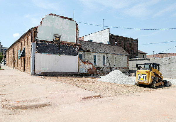 Don Knight | The Herald Bulletin<br /> Meridian Street has reopened following the demolition of an abandoned building that partially collapsed on June 9th. A common wall shared with the building to the north remains and will need to be replaced.
