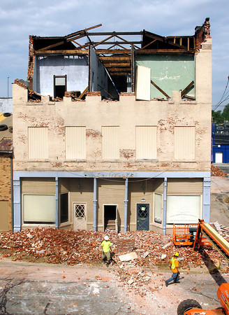 John P. Cleary | The Herald Bulletin<br /> The building in the 700 block of Meridian Street where bricks started to fall last week will take about a month to tear down.