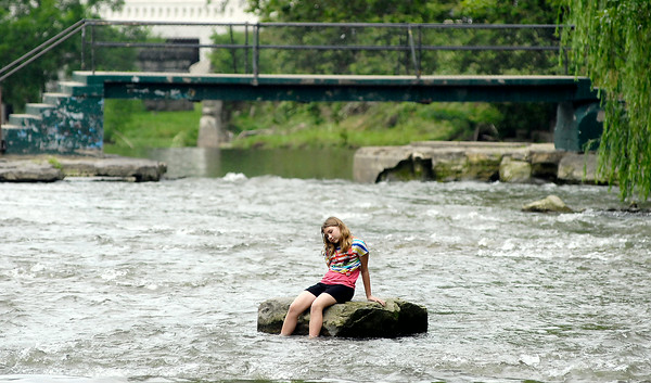 John P. Cleary   The Herald Bulletin<br /> Feature shots of kids playing in Fall Creek in Falls Park.