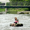 John P. Cleary | The Herald Bulletin<br /> Feature shots of kids playing in Fall Creek in Falls Park.