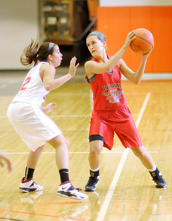 Stu Hirsch | The Herald Bulletin<br /> Frankton's Katie Key plays for the Benson Red team during the Indiana Class Basketball All-Star Classic at Anderson University on Friday. The Senior All-Stars play today at AU.